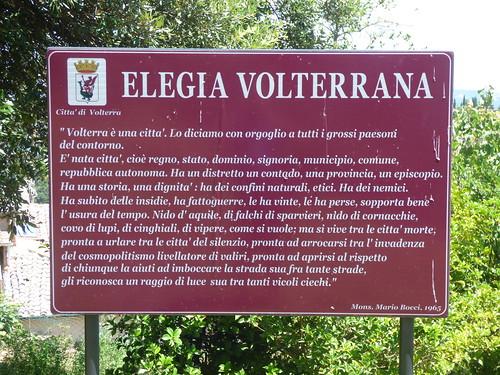 "Parco Archeologico ""Enrico Fiumi"" in Volterra - sign - Elegia Volterrana"