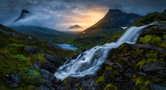 Foggy Sunrise (lonekheir) Tags: norge norway romsdalen waterfall valley lake sunrise fog dramatic tranquil
