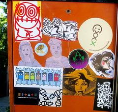 stickers (wojofoto) Tags: streetart stickers stickerart sticker slaps nederland holland netherland wojofoto wolfgangjosten wojo amsterdam pressone gingergunshot