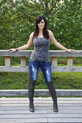 Chrissi 16 (The Booted Cat) Tags: sexy teen girl model tight blue jeans denim boots overkneeboots heels highheels brunette hair