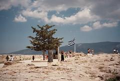 Photo36_33 (fiboplokk) Tags: greece athens acropolis ancientruins tree flag minoltarivazoom140 35mm analog greekflag