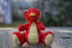 Blaze the Dragon (crafty1tutu (Ann)) Tags: handmade dragon mohair critter adorablecritters red yellow handsewn creation crafty1tutu canon5dmkiii canon24105lserieslens anncameron