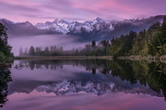 Dreams (inkasinclair) Tags: lake matheson mount cook reflection sunrise fog new zealand south island landscape mountains tasman