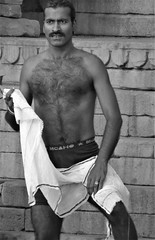 varanasi 2017 (gerben more) Tags: ritual ritualbathing man shirtless handsomeman varanasi benares india blackwhite monochrome moustache hairychest towel