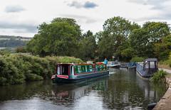 Rain on the Water (clive_metcalfe) Tags: kennetavon canal narrowboat barge bathampton somerset rain uk towpath hills