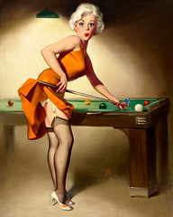 Shooting Billiards by Donald Rust (gameraboy) Tags: donaldrust pinup pinupart illustration art vintage woman sexy shootingbilliards stockings thighhighs garterbelt pool snooker heels blonde boobs legs