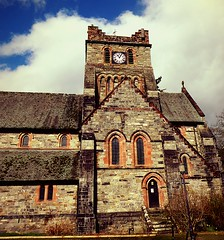 Church in bets y coed (lesleydugmore) Tags: church wales northwales brick betycoed snowdonia stone snowdonianationalpark clock windows door spire steeple