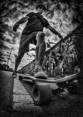 Kick...Push...mono (D-W-J-S) Tags: flickr mono bw hdr canon self portrait selfie longboard longboarding
