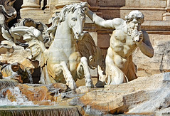 Roma, Rome, Rom ... (Ciceruacchio) Tags: trevi fountain fontana fontaine triton horse cavallo cheval sculpture scultura baroque barocco roma rome rom italy italia italie italien nikon