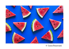 Fresh watermelon (laura passavanti) Tags: watermelon melon slices background table blue seeds fruit summer sliced food bio red triangles colorful fresh healthy vegetarian above