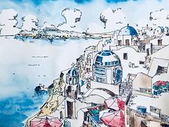R2D2 in Santorini, Greece (R2-D2) (chihokim) Tags: greece r2 starwars painting landscape illustration sketch r2d2 watercolor santorini