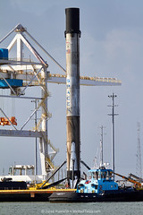 Falcon 9 Has Arrived at Port Canaveral (alloyjared) Tags: spacex falcon9 portcanaveral merahputih spacecoast florida jettypark helicopter aerialphotography floridaairtours