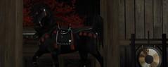 The Samurai's Horse (Akari Aoki) Tags: firestorm secondlife katana sword red black manga anime horse pony man beautiful ancient samurai japanese japan virtual world avatar teegle tree