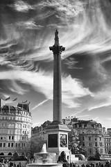 A partially cloudy Trafalgar Square (Tawny042) Tags: london trafalgar square cloud cloudy city urban monochrome d700 nikon sky