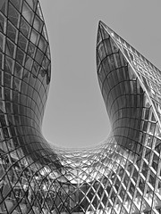 Emporia Shopping Mall (RobertLx) Tags: shoppingmall shoppingcentre shopping malmo sweden scandinavia nordic architecture building reflection glass modern contemporary city sky monochrome bw grid lines emporia geometric curves curve abstract deconstructivism