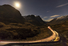 Headlights and Moonlight, Three Sisters, Glencoe, Scotland (MelvinNicholsonPhotography) Tags: glencoe scotland threesisters longexposure cartrails moonlight sky clouds stars astro mountains munros canon5dmk4 nisifilters