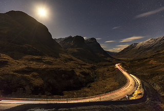 Headlights and Moonlight, Three Sisters, Glencoe, Scotland