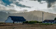 Barn and Farmhouse with Rays (Thanks for 1.3 million views) Tags: pointreyesstation pointreyes farm barn hills sundown marin california