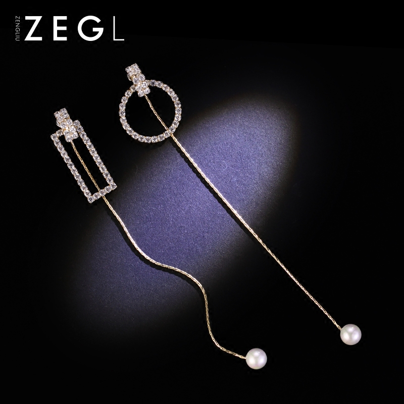 Asymmetrical earring makings, South Korea suitable for round face earrings, long pendant earrings, Chaoshan personal ear accessories.