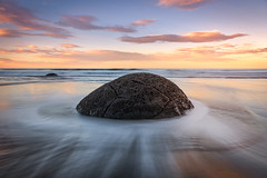 Moeraki Boulders (inkasinclair) Tags: moeraki boulders sunset waves long exposure new zealand south island low tide landscape
