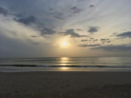 Sunrise over the Gulf of Thailand seen from Hua Hin beach