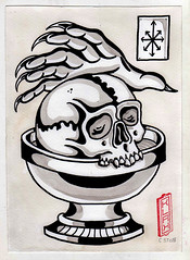 La muerte y el caos (Bastian Klak) Tags: chaos illustration draw ink artwork skull hand evil shading black klak santiago chile cup