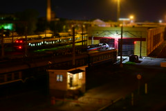 tilt shift (Moonpollution) Tags: architecture building city blue street urban old light white bomber hollow model doomed implicit faith fated sacred art abstract tilt tiltshift shift artphoto moonpollution moonpollutionart moonmurk ekkimukk akulich alexakulich railway train hangar