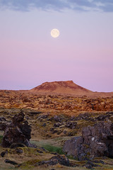 Pink 10 (Simone Della Fornace) Tags: iceland landscape moon full sky clouds sunrise rocks rocky pink mountain nopeople nordic desert desolate stark empty outdoor snaefellsnes sony a7rii