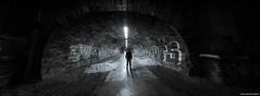 Like A Moth To The Flame (john&mairi) Tags: rodney street tunnel railway disused edinburgh pedestrian cycle way bw blackwhite monochrome mono figure silhouette me grafitti nocturnal edinburghnewhaven line