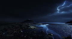 St. Michael's Mount (Kambo Dscha) Tags: stmichael'smount angarreklosyncos marazion cornwall thunderstorm lightning seascape landscape england uk beach seafront kambodscha nikon reflection