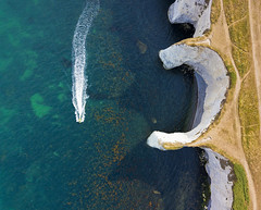 #130 Out at Sea (Timster1973 - thanks for the 16 million views!) Tags: aerial aerialphotography fly mavic drone uav quadcopter dji mavicprodrone djimavicpro up uphigh droneflying tim knifton timster1973 timknifton explore exploration perspective lookdown lookingdown color colour sea seascape rocks boat seaside coast coastal land landscape exterior external outdoor outdoors blue ocean beach cliffs cliff