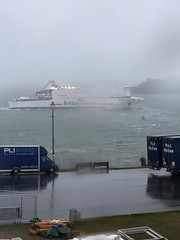 Good morning British Summer (simoncoram) Tags: armoreique brittanyferries visibility sea seaside thehoe choppy waves morning boats galeforce8 wetwetwet summer holidays summertime wet heavyrain morerain rain whitehorses water plymouth