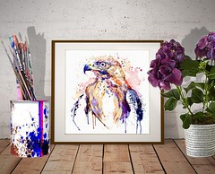 Bird of Prey (marianv2014) Tags: bird birds birdofprey raptors goldeneagle eagles birdart wallart walldecor fineart aquarelle watercolor watercolour watercolorpainting watercolorportrait splashes splatters drippingpaint wildlife animalart predator colorful purple blue yellow eagleposter eagledecor fortheroom artgifts affordableart birdpainting feathers illustration artwork art beautiful whitebackground contemporary wild zoology single decor
