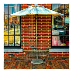 Up Against the Wall... (Timothy Valentine) Tags: 2018 0718 large bench reflection brick window monday portsmouth newhampshire unitedstates us