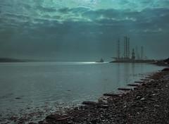 Dundee, Scotland. (wojszyca) Tags: fuji gsw680iii 6x8 120 mediumformat fujinon sw 65mm kodak portra 400 epson v800 sea seascape ship shipyard port coast sky beach dundee scotland bridge industrial