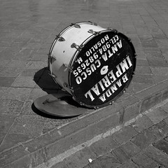 Drum, Cusco, Peru (austin granger) Tags: drum cusco peru bandaimperial sign advertisement font music phonenumber street square film gf670 plazadearmas