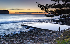 Photographer capturing a Sunrise Seascape (Merrillie) Tags: daybreak sunrise nature water macmasters centralcoast morning sea newsouthwales rocks earlymorning nsw dawn clouds ocean landscape cloudy waterscape coastal macmastersbeach outdoors seascape australia coast sky waves photographer