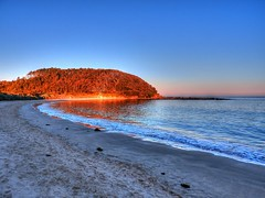 Looking towards Broulee island V (elphweb) Tags: hdr highdynamicrange nsw australia seaside sea ocean water beach sand sandy brouleeisland island