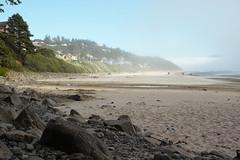 Oceanside Beach (briangeerlings) Tags: sigmadp2merrill foveon nature oregon landscape oregoncoast coast pacificnorthwest beach sand sky fog oceanside rocks town city tree dunes ocean pacificocean