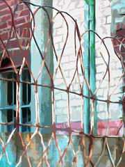 Loops (Steve Taylor (Photography)) Tags: digitalart fence brick newzealand nz southisland canterbury christchurch cbd city texture loop downpipe