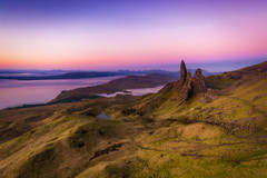 Old Man of Storr Sunrise (ed027) Tags: ifttt 500px mountain range idyllic hill horizon sunrise scenery landscape scenic tranquil scene scenics rock colours colorful mountains dawn dusk sunlight pretty path united kingdom rocky rocks hiking walking man historic highlands high angle wide