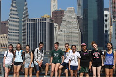 Students at BBP with downtown manhattan in background