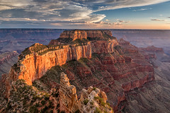 The Glowing Throne (Kirk Lougheed) Tags: arizona caperoyal coloradoplateau grandcanyon grandcanyonnationalpark northrim usa unitedstates wotansthrone canyon cloud landscape nationalpark outdoor park rim sky summer sunset