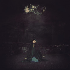 Seeking Renewal (Jen Kiaba) Tags: blue green square texture loneliness nature night females oneperson ghost people women dark fear death witch fantasy mystery cave afraid woman lonewoman lonefigure alone horror spooky