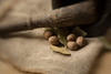 Still Life with Nutmeg (suzanne~) Tags: bayleaf nutmeg spice mortar stilllife macro pestle burlap closeup indoor tabletop lensbaby sweet80