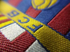 FC Barcelona (ainulislam) Tags: macromonday macro football barcelona logo badge messi colours red yellow catalan fcb fcbarcelona viscabarca macrophoto tiny bokehlicious bokeh dof texture depth field