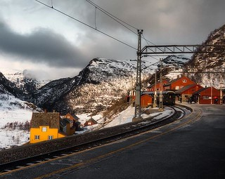 Myrdal Station in the Winter . . In the middle of the epic Oslo to Bergen train ride is this gorgeous view at Myrdal station. . . #norway #myrdal #oslotobergen #trainstation #EuroTrip #artofvisuals #ig_europe #agameoftones #moodygrams #createexplore #crea