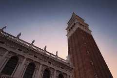Campanile di San Marco - Venezia (Italy) (Andrea Moscato) Tags: andreamoscato italia veneto view vivid vista history historic architecture architettura ancient art arco architect arte architetto architectural artist building edificio campanile evening shadow ombre light luce sunset tower cielo city città sky blue red perspective monument brick
