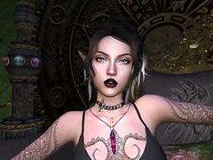 I see you (Renee Mirabeau) Tags: portrait elf dark goth sl secondlife pose tattoo tattoos stfu crystal feathers