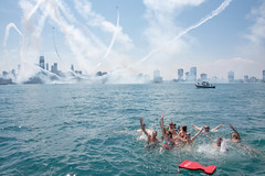 Getting excited for the Air and Water Show (virtualphotographers) Tags: chicago chicagocorinthianyachtclub chicagoharbors chicagoairandwatershow lakemichigan water swimming airandwatershow airshow aircraft